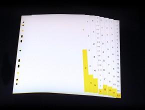 Plastregister med olikfärgade flikar i vitt och gult. A4 format och universalhålning.
