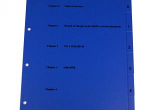 Screentryckt förblad för blått pärmregister i PVC, hålning 3x80, indelning 0-5.