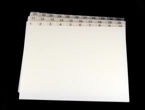 Frostat A4 kartotekregister i PP 0,8mm. Indelning: 1-31 i flera lägg.