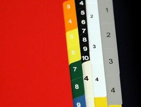 A5 plastregister PVC 0,14 och 0,20mm med S-flikar och I-flikar i olika färger.
